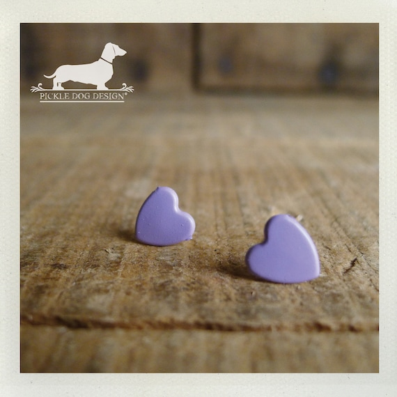 DOLLAR DEAL! I Heart You. Purple Heart Post Earrings