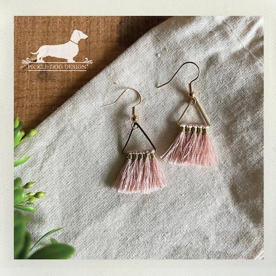 Triangle Pink Tassel. Dangle Earrings