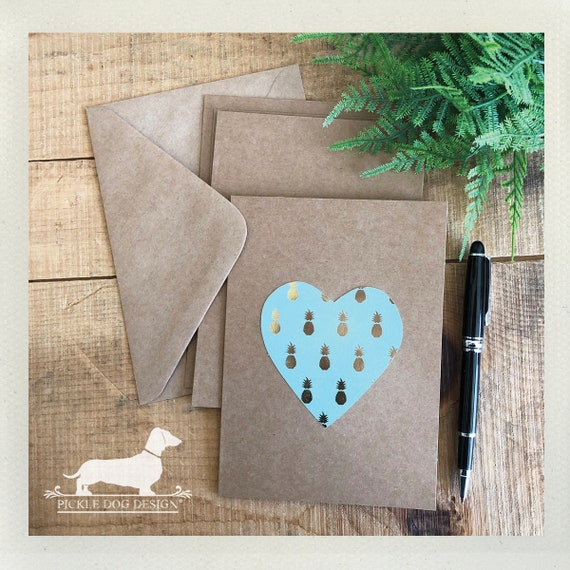 DOLLAR DEAL! Pineapple Heart. Note Cards (Set of 4)
