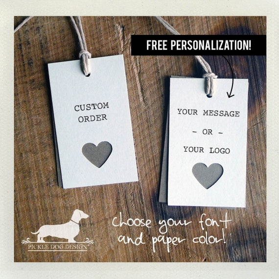 Ivory Heart. Personalized Rectangle Gift Tags (Set of 20)