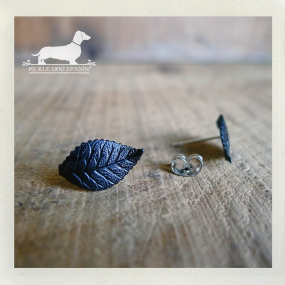 Leafy Lobes. Black Leaf Post Earrings