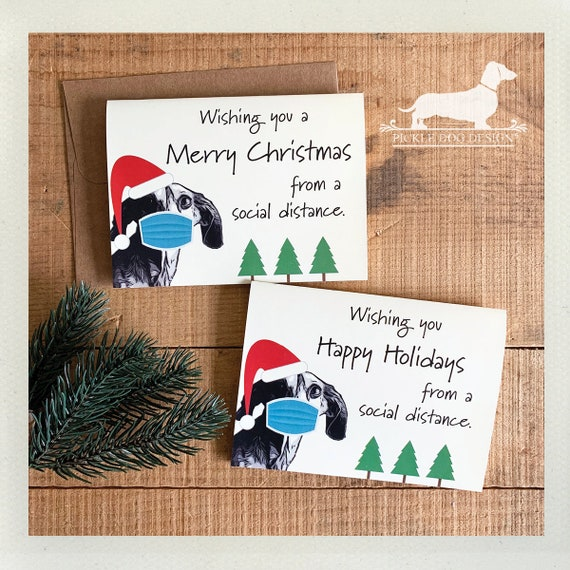 Social Distance Doxie Christmas. Note Card