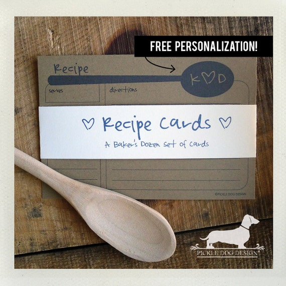 Mister Brown. Free Personalization. A Baker's Dozen (Qty 13) Set of Recipe Cards