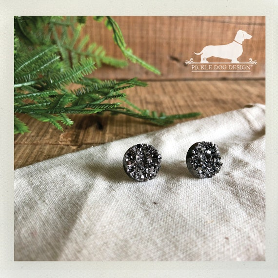 Gunmetal Druzy. Post Earrings