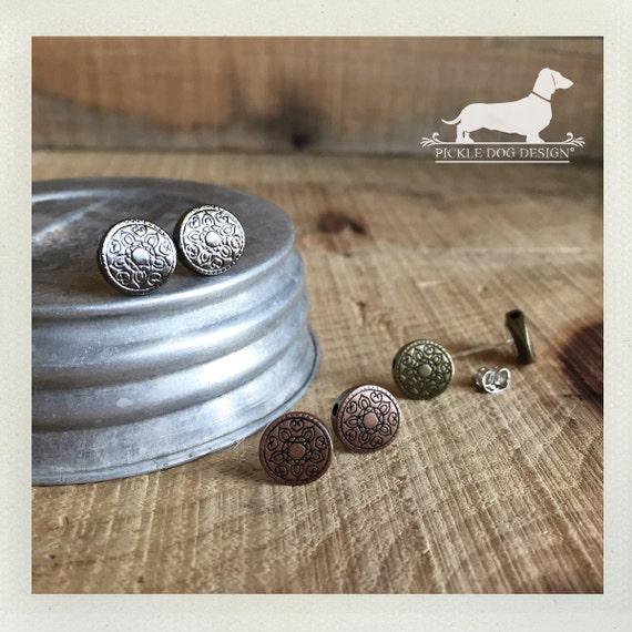 Rustic Mandala Trio. Post Earring Set