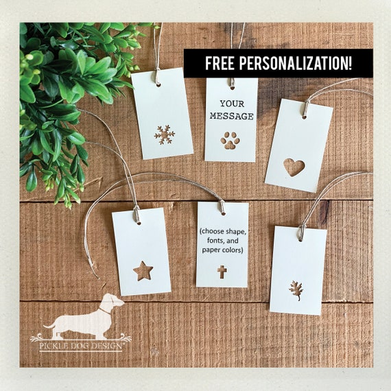 Choose Your Shape. Single Layer Personalized Rectangle Gift Tags (Set of 20)