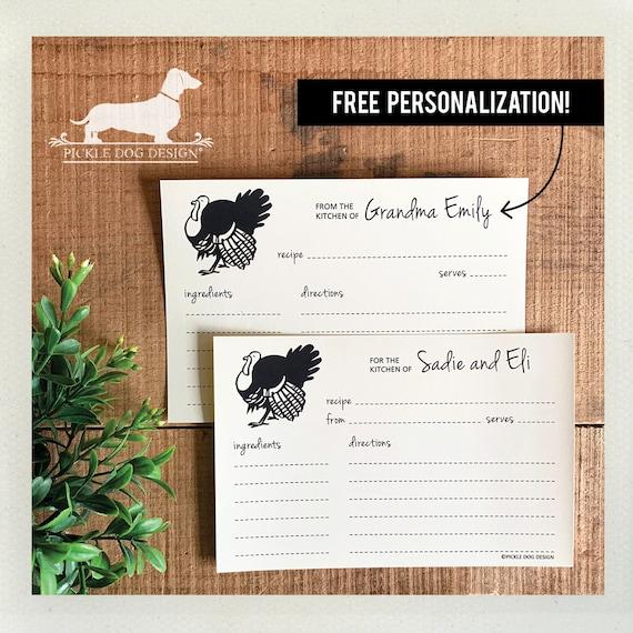 Turkey. Free Personalization. A Baker's Dozen (Qty 13) Set of Recipe Cards