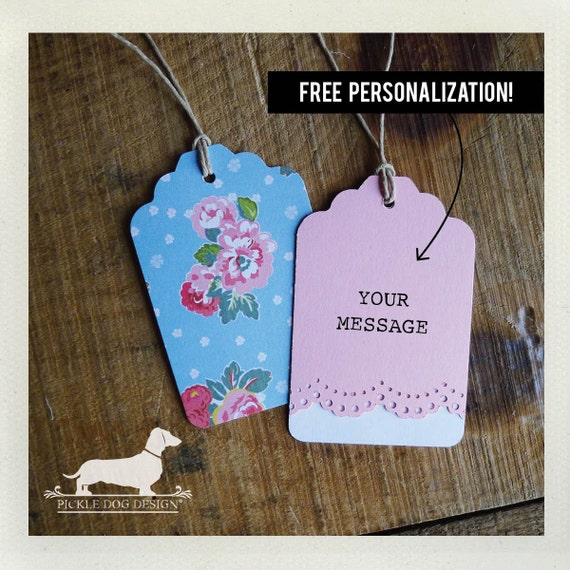 Blue Garden. Personalized Mini Gift Tags (Set of 12)
