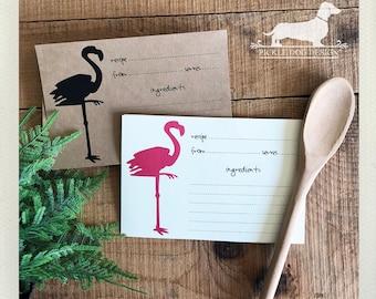 Flamingo. A Baker's Dozen (Qty 13) Set of Recipe Cards -- (3x5, 4x6, Rustic, Cute Wedding Gift, Bridal Shower Favor, Tropical, Summer, Bird)