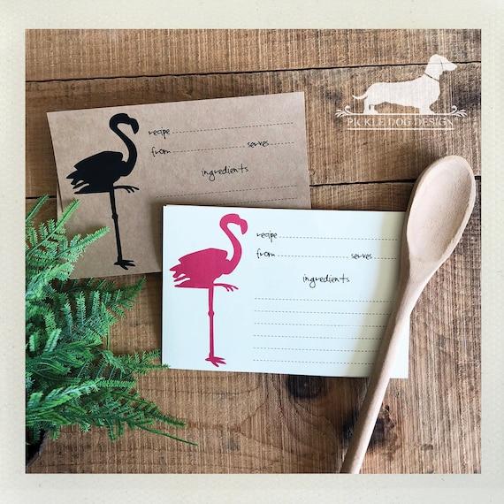 Flamingo. A Baker's Dozen (Qty 13) Set of Recipe Cards