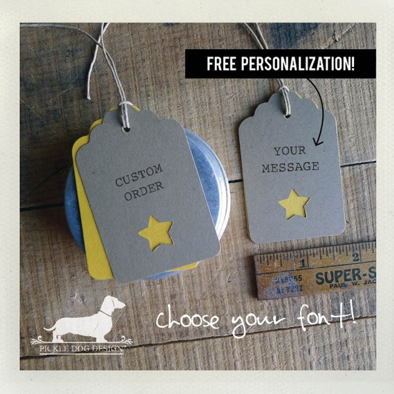Natural Star. Personalized Gift Tags (Set of 12)