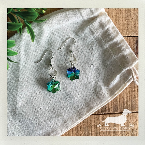 Snowflake Drops. Dangle Earrings