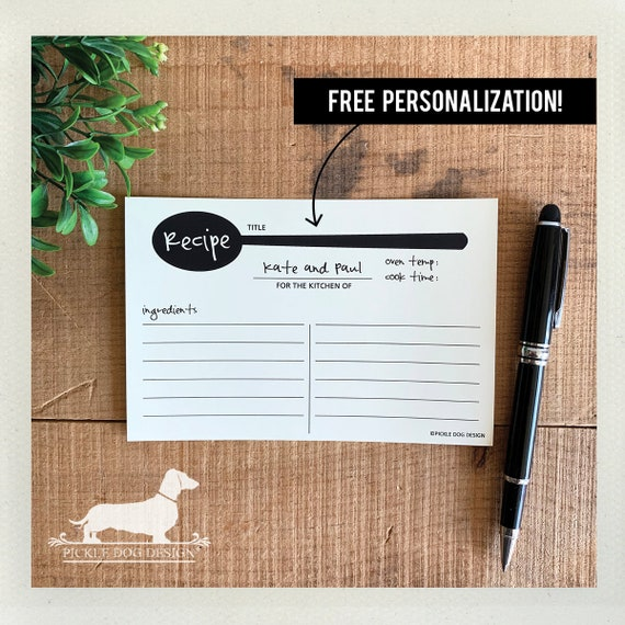 A Spoonful of Sugar. Free Personalization. A Baker's Dozen (Qty 13) Set of Recipe Cards