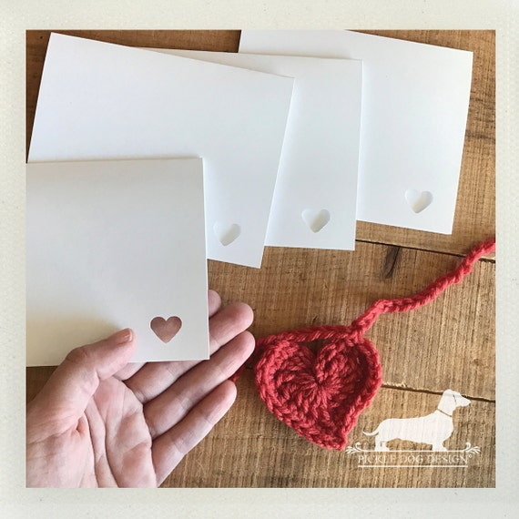 DOLLAR DEAL! Mini Heart. White Note Cards (Set of 4)