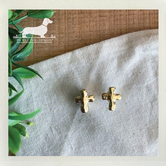 DOLLAR DEAL! Gold Cross. Post Earrings