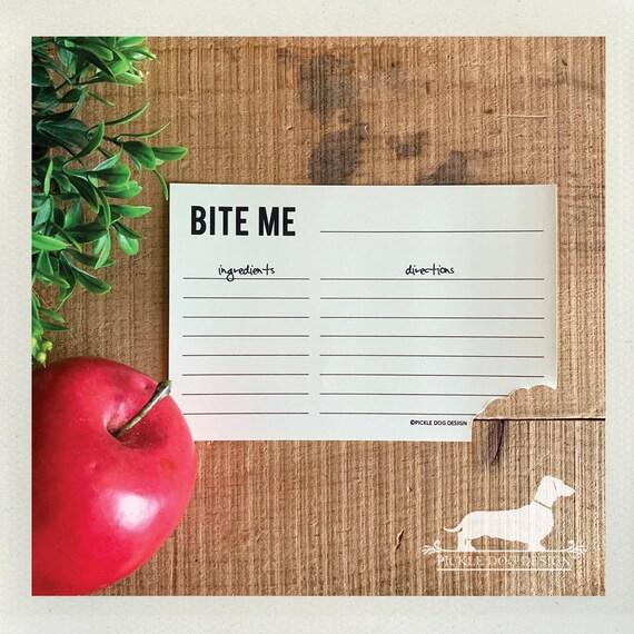 Bite Me. A Baker's Dozen (Qty 13) Set of Recipe Cards