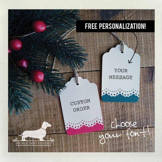 Holiday Lace. Personalized Gift Tags (Set of 12)