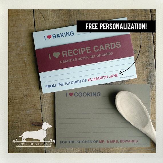 I Heart. Free Personalization. A Baker's Dozen (Qty 13) Set of 4x6 Recipe Cards