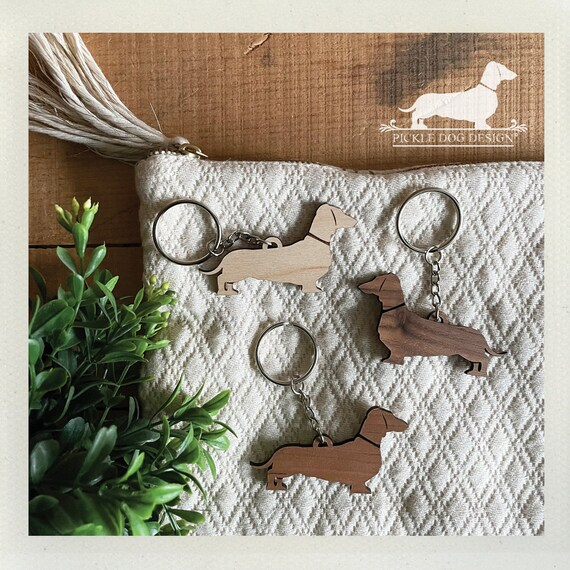 LAST CHANCE! Imperfect Doxie. Keychain -- (Dachshund, Wood, Key Ring, Vintage-Style, Sausage Dog, Wiener Dog, Birthday Gift Under 5 Dollars)