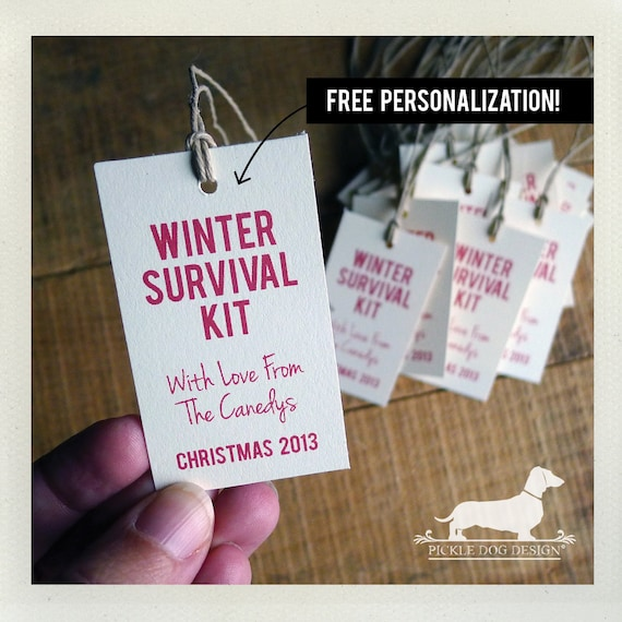 Winter Survival Kit. Personalized Gift Tags (Set of 20)