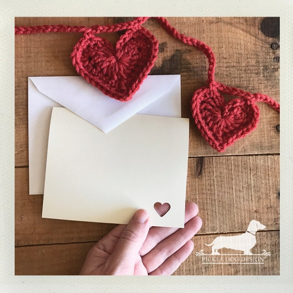 DOLLAR DEAL! Mini Heart. Ivory Note Cards (Set of 4)
