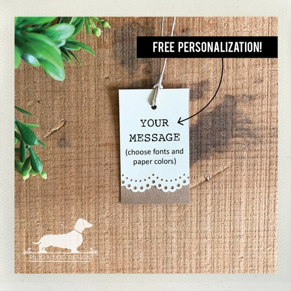 Lacey Double. Personalized Rectangle Gift Tags (Set of 20)
