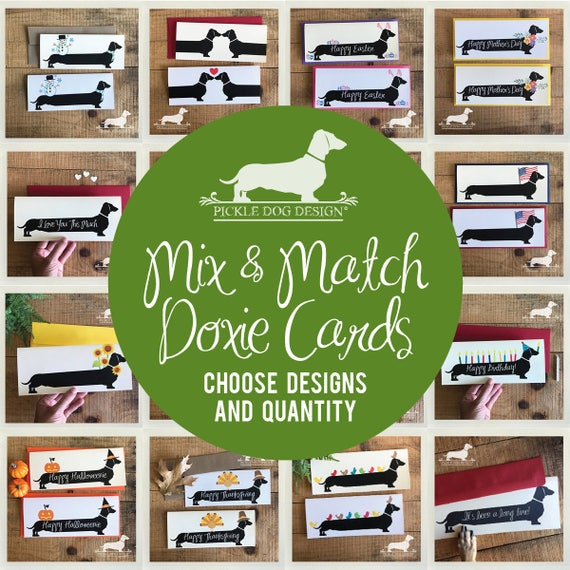Mix & Match. Long Doxie Note Cards
