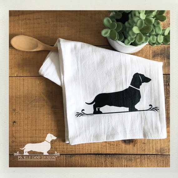 Doxie Fleur De Lis. Tea Towel