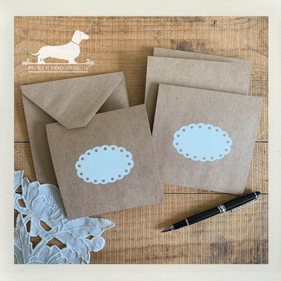 DOLLAR DEAL! Lace. Note Cards (Set of 4) -- (Vintage-Style, Shabby Chic, Rustic, Baby Shower, Thank You Card, Bridal Shower, Blank Cards)