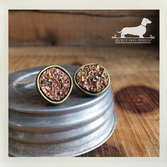 Rose Gold Druzy. Post Earrings