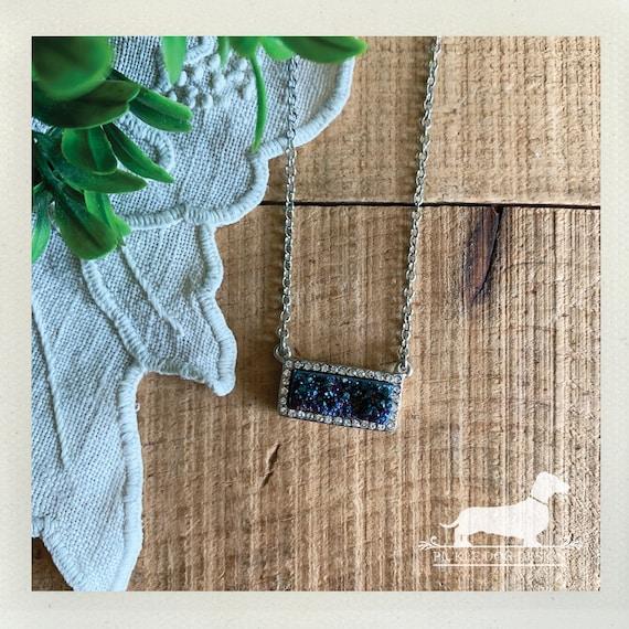 Blue Druzy. Necklace