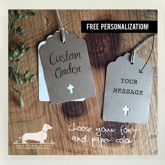 Natural Cross. Personalized Gift Tags (Set of 12)