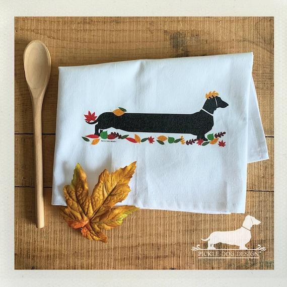 Autumn Doxie. Tea Towel