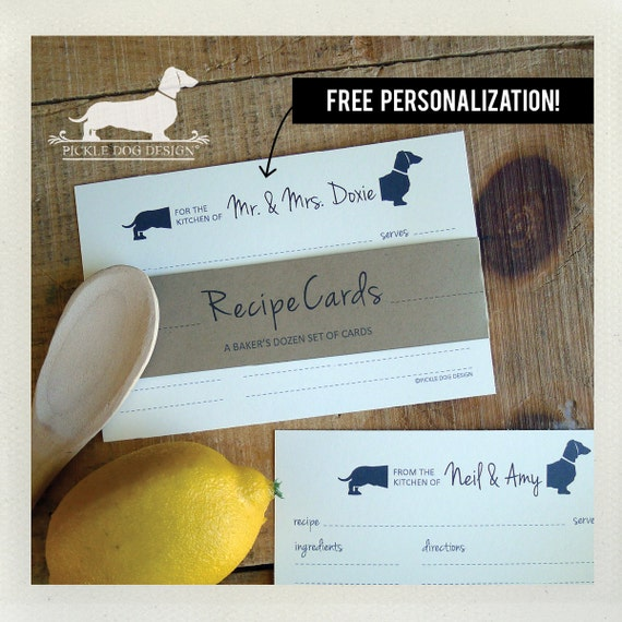 Mr. and Mrs. Doxie. Free Personalization. A Baker's Dozen (Qty 13) Set of 4x6 Recipe Cards