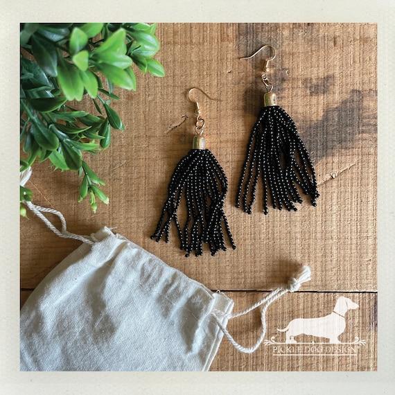 Black Beaded Tassel. Dangle Earrings