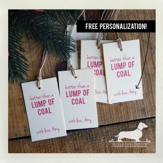 Lump of Coal. Personalized Gift Tags (Set of 20)