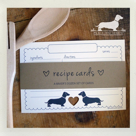 Mini Doxie Heart. A Baker's Dozen (Qty 13) Set of 4x6 Recipe Cards
