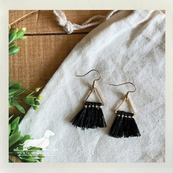 Triangle Black Tassel. Dangle Earrings