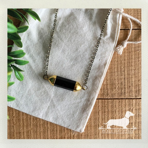 Ebony Gold Bar. Necklace