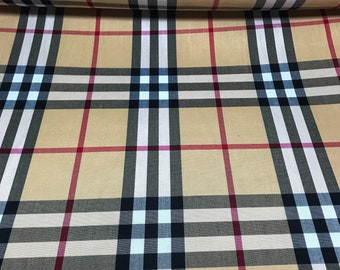 98d6cd6dcce614 Beige Black Red White School Magnified Tartan Plaid 100% polyester fabric  58