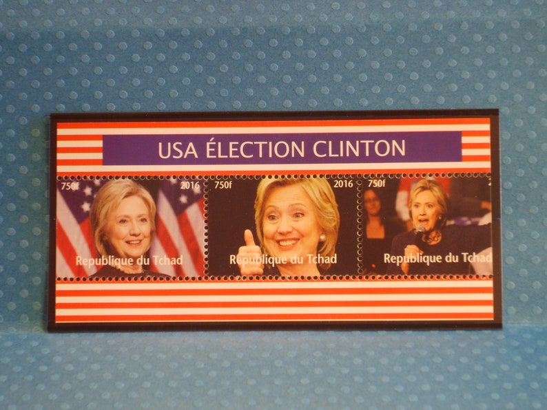 Strip of Unique Chad Postage Stamps Hillary Clinton 2016