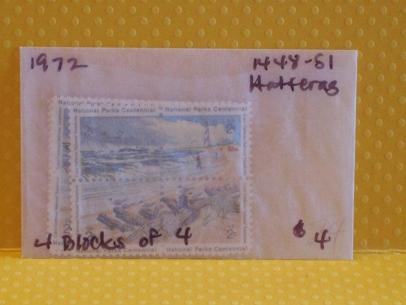 1451a No of Unique Vintage US Postage Stamps 1972 Cape Hatteras National Seashore 4  Blocks 16-2 cent stamps