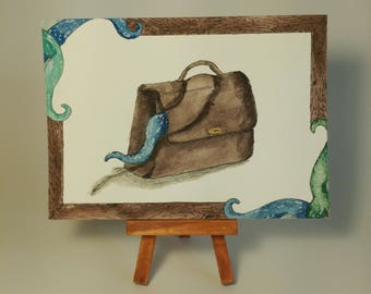 Original Watercolor - What's in the Bag?
