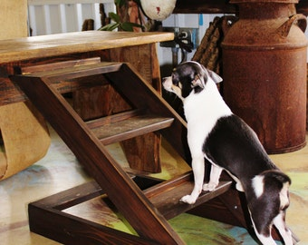 "Crazy Sale- Wide Version 14""-17"" High Custom Built to Order Cypress Wood Dog Stairs, Couch Height, Modern Low Bed Frame Height, *Custom Desi"