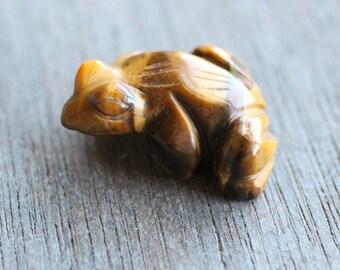 Tiger Eye Stone Frog Figurine F131