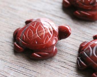 Red Jasper Turtle Amulet on Black Cord aka Turtle Fetish