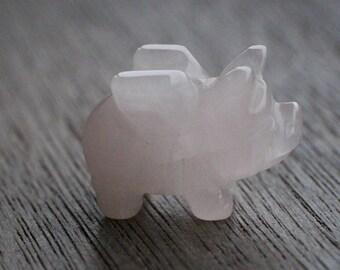 Rose Quartz Stone Flying Pig Figurine F19