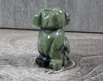 Kambaba Jasper Stone Dog Animal Figurine F215