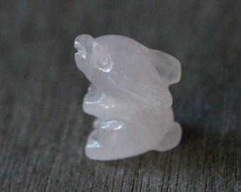 Rose Quartz Stone Bunny Rabbit Figurine F79