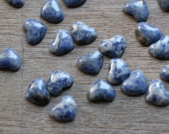 SET of 10 Sodalite Small Heart Stone with Flat Back K350